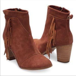 TOMS Lunata Cognac Suede Fringe Booties Boots NWT
